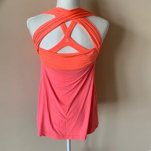 Lululemon orange pink cross back tank #535